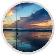 Fishing And Watching The Sunrise Round Beach Towel
