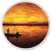 Fishing At Golden Hours Round Beach Towel