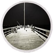 Fishing At Night Round Beach Towel