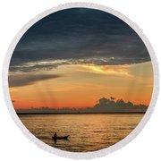 Fishing At Sunrise Round Beach Towel
