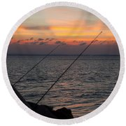 Fishing At Sunset Round Beach Towel