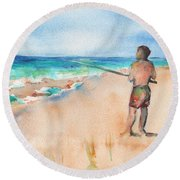 Fishing At The Beach Watercolor Round Beach Towel