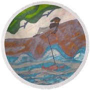 Fishing At The Cove Round Beach Towel