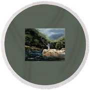 Fishing At  The Crack Of Dawn Round Beach Towel