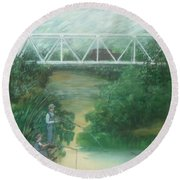 Fishing At The Pump House On White Oak Creek Round Beach Towel