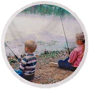 Fishing At Watkins Mill Round Beach Towel