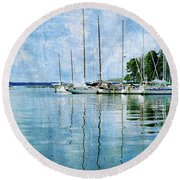 Fishing Bay Reflections Round Beach Towel