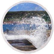 Fishing Beyond The Surf Round Beach Towel by Terri Waters