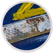 Fishing Boat Abstract Round Beach Towel