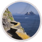Fishing Boat Approaching Skellig Michael, County Kerry, In Spring Sunshine, Ireland Round Beach Towel