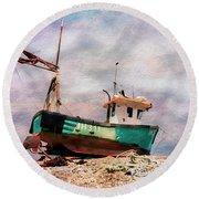 Fishing Boat At Aldeburgh Round Beach Towel
