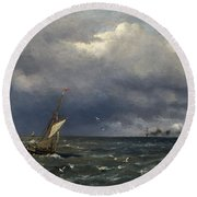 Fishing Boat At The Sea Round Beach Towel