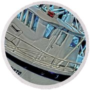 Fishing Boat Hdr Round Beach Towel