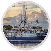 Fishing Boat In Port Round Beach Towel