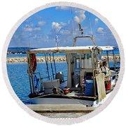 Fishing Boat Moored In The Harbor Of Katakolon Greece Round Beach Towel
