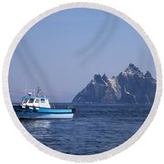 Fishing Boat Near Little Skellig, County Kerry, In Spring Sunshine, Ireland Round Beach Towel