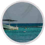 Scuba Boat On Turquoise Water Round Beach Towel