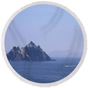 Fishing Boat Passing Little Skellig, County Kerry, In Spring Sunshine, Ireland Round Beach Towel