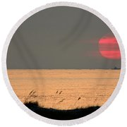 Fishing Boat Under Setting Sun Round Beach Towel