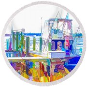 Fishing Boats 2 Round Beach Towel