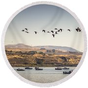 Fishing Boats And Blue Herons Round Beach Towel