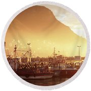 Fishing Boats At Dawn Kalk Bay South Africa Round Beach Towel