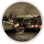 Fishing Boats At Lyme Regis Round Beach Towel
