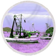 Fishing Boats At Pearl Beach 1.0 Round Beach Towel