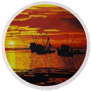 Fishing Boats At Sunset Round Beach Towel