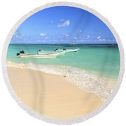 Fishing Boats In Caribbean Sea Round Beach Towel