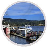 Fishing Boats In Sooke Round Beach Towel