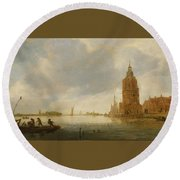 Fishing Boats Off An Estuary Round Beach Towel