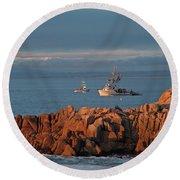 Fishing Boats On Monterey Bay Round Beach Towel