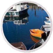 Fishing Boats, Rockport, Ma Round Beach Towel