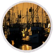 Fishing Boats Sunset Light Round Beach Towel