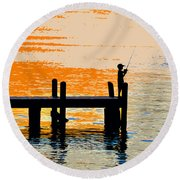 Fishing Boy Round Beach Towel