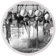 Fishing Buoys In Black And White Round Beach Towel