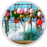 Fishing Buoys Round Beach Towel