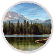 Fishing By Mount Lassen Round Beach Towel
