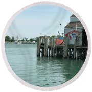 Fishing Dock Round Beach Towel