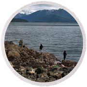 Fishing False Outer Point Round Beach Towel