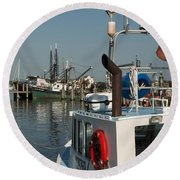 Fishing Fleet Round Beach Towel