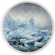 Fishing For Walrus In The Arctic Ocean Round Beach Towel