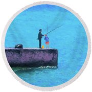 Fishing From The Pier Round Beach Towel