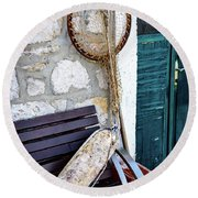 Fishing Gear In Primosten, Croatia Round Beach Towel