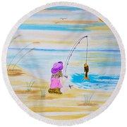 Fishing Girl Round Beach Towel