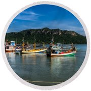 Fishing Harbour Round Beach Towel