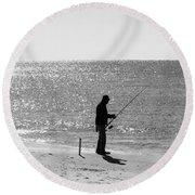 Fishing In Black And White Round Beach Towel