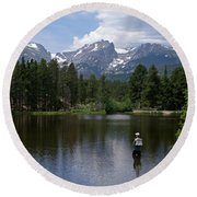 Fishing In Colorado Round Beach Towel