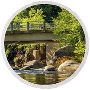 Fishing In Deer Creek Round Beach Towel by James Eddy